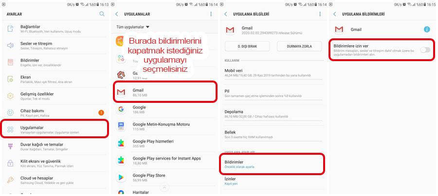 Android Uygulama Bildirimlerini Kapatma