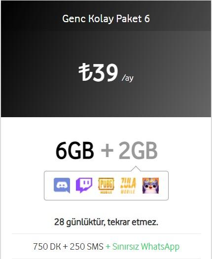 Vodafone Genç Kolay Paket 6 görseli